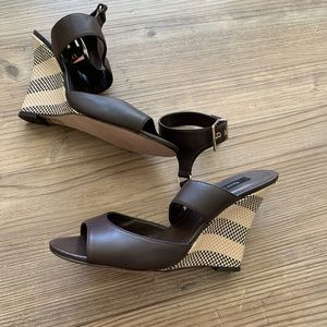 WHBM Brown Leather Wedges size 9